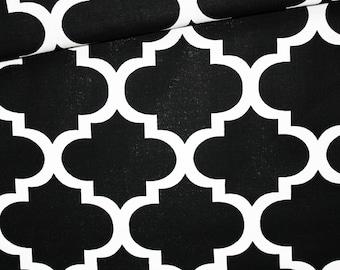 Moroccan lattice, 100% cotton fabric printed 50 x 160 cm, black and white Moroccan pattern