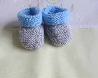 """Grey and blue"" baby booties newborn hand made knit"