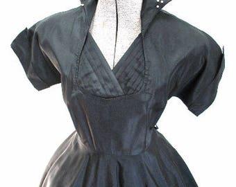 M 50s Pearl Collar Black Satin Party Dress Full Skirt Short Sleeves Tuxedo Pin Tuck Black White Cocktail Medium
