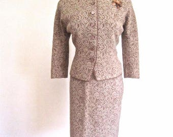 M L 50s 2pc Knit Suit Set Skirt Jacket by Odys de Paris Wool Tan Taupe Brown Cream Grey France Medium Large