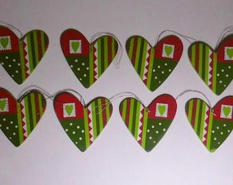 8 ornaments decorations hearts 50mm