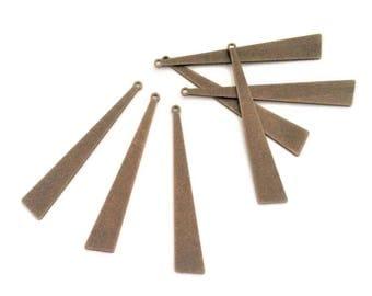 x 6 long 44mm antique bronze brass triangle pendant