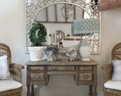Miniature ornate mirror - large silver ornate - Dollhouse - Diorama - Roombox - 1:12 scale