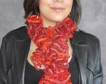 Fancy ruffle wool hand knitted scarf red-orange for woman