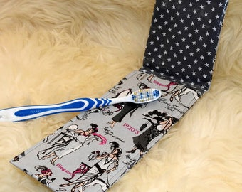 Bag retro women's toothbrush with starry waxed canvas Interior