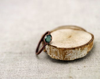 Cut Emerald Ring, Electroformed emerald copper ring, , green beryl ring, raw stone ring, 5 3/4 US
