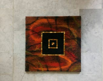 Painting on canvas with mosaic, wall decoration
