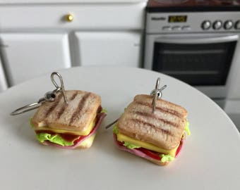 Ham Cheese toast earrings