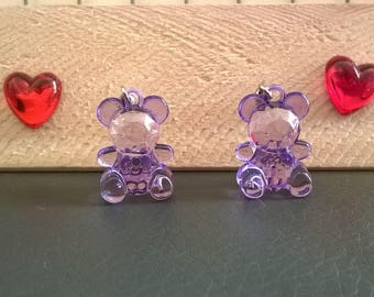 Girl Teddy bear earrings