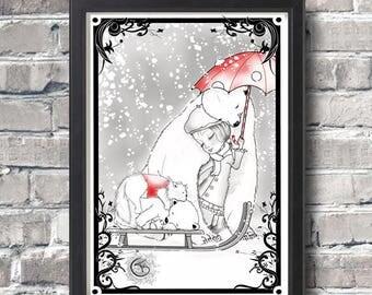 Art print,kids room,christmas card,illustration art,Madeline,christmas,snow and white bears,tenderness,home decor