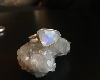 Moonlight moonstone ring. Sterling silver rose cut moonstone ring. Crescent moon ring.