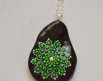 Hand painted Pebble pendant necklace