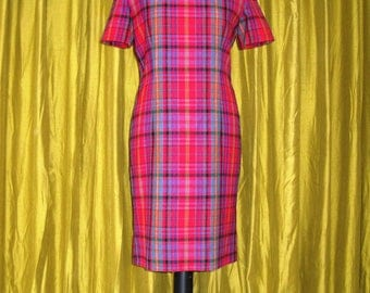 Vintage Tartan Dress, 1990s Dress, Wiggle Dress/ Pencil Dress, Size Small, UK Size 10, EUR 38, US 8, St Michael