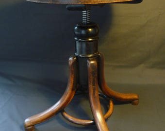 Old Antique Vintage Thonet Bentwood Wooden Piano Stool Industrial Salvage
