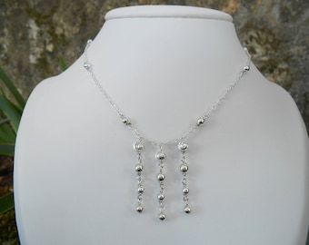 Destash: women necklace, 925 sterling silver, 925 sterling silver Moon and smooth ball beads (length 41 cm)
