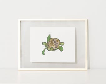 turtle decor, turtle printable, green turtle print, Nursery decor, kids decor, childrens beach decor, sea turtle, digital poster,playroom