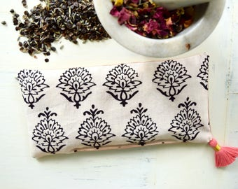 Aromatherapy Eye Pillow Indian Block Print Filled with Organic Dried Lavender Rose Petals and Chamomile Savasana Yoga Eye Pillow Spa Pillow