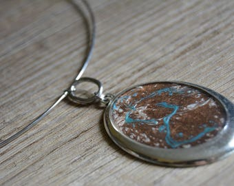 Silver Pendant Necklace turquoise blue Brown oval - Choker silver Brown blue oval cabochon