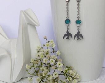 Bird, Colombia Bohemian earrings, green Crystal, stainless steel