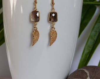 smoky quartz earrings, golden wings, 24 carat gold plated metal
