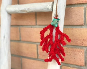Lovely Sea Inspired Red Coral Necklace with Adjustable Height, Beach Jewelry, Knitted Cotton, Semiprecious Stone, Real Leather Necklace