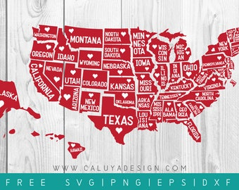 FREE SVG & PNG Link | 50 states and D.C. Cut Files, svg, png, dxf, eps | Commercial Use | circuit, cameo silhouette | States Cut File