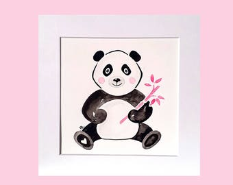 Pink panda nursery art, original watercolour, watercolour panda, pink panda, baby panda decor, baby nursery artwork, pink baby animal, 8 x 8