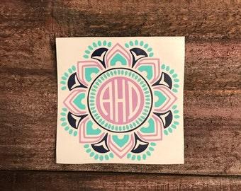 Mandala Monogram Sticker Decal | Three Color Mandala Monogram | Hydroflask Sticker |  Vinyl Decal