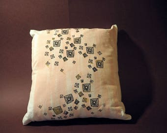 Hand-painted, Screen-printed, Scattered Stud Cushion featuring Pastel Pink backround and Gold accents