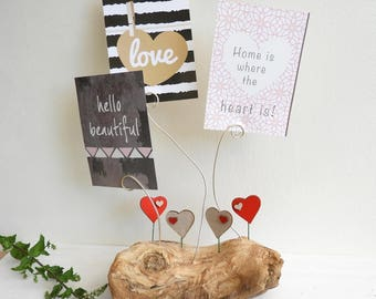 Put pics, driftwood and red heart and linen - decoration - gift - Valentine's day gift for her