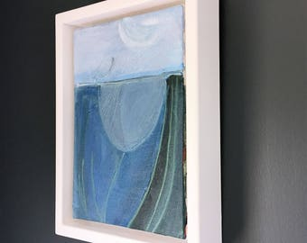 Acrylic Seascape, Original Seascape, Abstract Seascape, Framed Canvas, Original Acrylic Painting, Seaside Gift, Modern Art, Down By The Sea