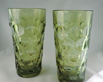 Vintage Fostoria, circle, olive green, heavy glass tumblers, set of two (2)