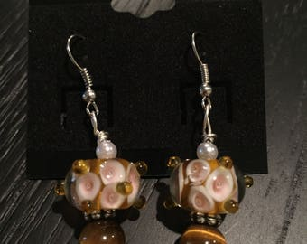 Handmade Beaded Brown Dot Earrings