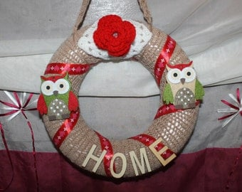 Wreath Christmas knitted beige