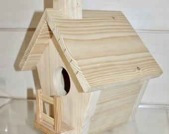 Great cabin birdhouse raw wood (pine) indoor or outdoor - custom