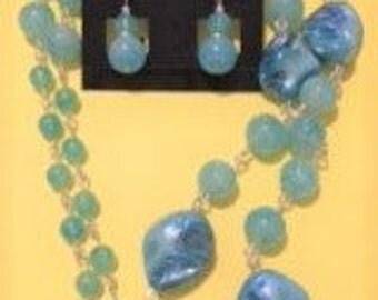 """Aqua Shell Necklace Set--35"""""""