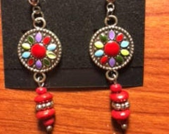 Drop Earrings with Mulit-color Links and Red Wood Beads