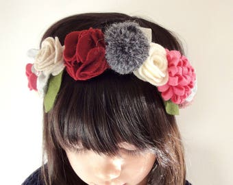 Felt Flowers Crown/ Hairband for little girls - Maroon/Pink/Grey