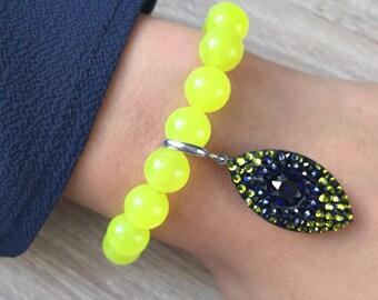 Neon colored jade bracelet and swarovski crystals
