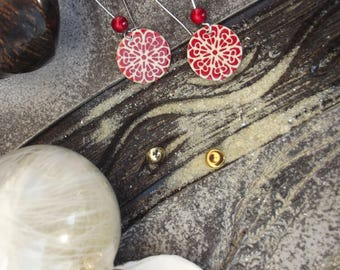 Earrings with large hooks sleepers in silver with red bead and sequin round enameled red and ivory design flower.