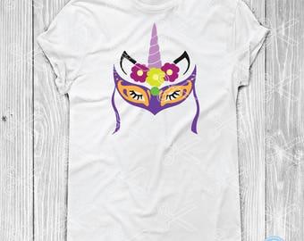Mardi Gras Unicorn SVG, PNG, DXF, Eps Cutting Files for Cricut & Silhouette, Unicorn with Mask Svg, Louisiana Svg  mardi gras mask for girls