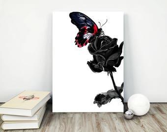 black rose art| flower wall art| rose drawing | black rose poster | rose wall print | single rose | rose poster | black roses print ||