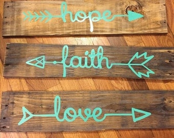 Hope, Faith, Love Wood Pallet Signs