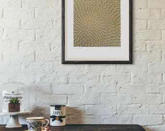 Axis (Limited Edition Linocut Print in Gold)