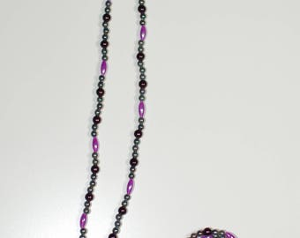 Purple, Grey, and Black Beaded Necklace