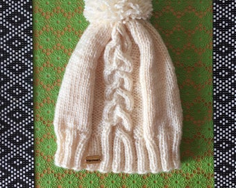 Hat with Pompom cream soft and warm