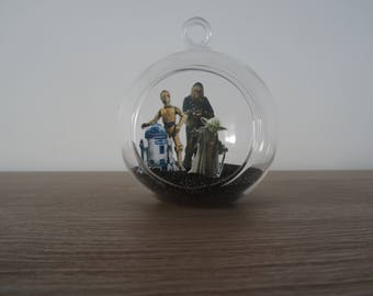 Suspension / glass ball decoration Star Wars Yoda, Charles, R2D2 and C3PO to hang or place the last Jedi