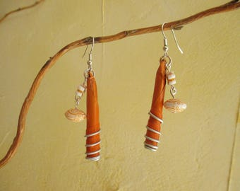 Orange EARRINGS made of recycled Nespresso capsule, entirely handmade.