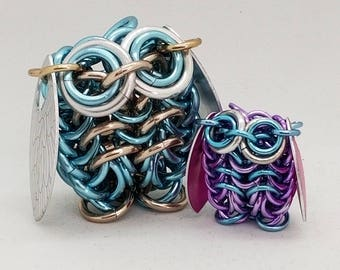 Set of Two Chainmaille Owls