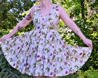 Handmade V neck Midi length Flower dress